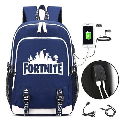 FOONEE Mochila Escolar Infantil Fortnite para niños y niñas, con Puerto de Carga USB y