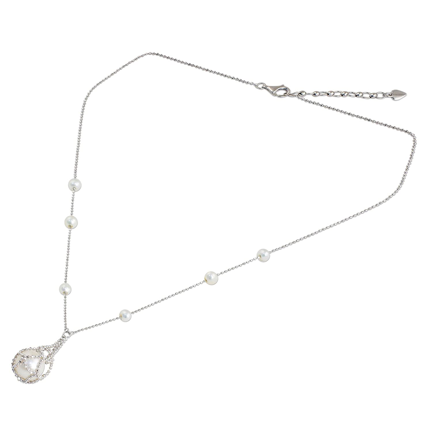 18 Lily Cologne NOVICA White Cultured Freshwater Pearl .925 Sterling Silver Necklace