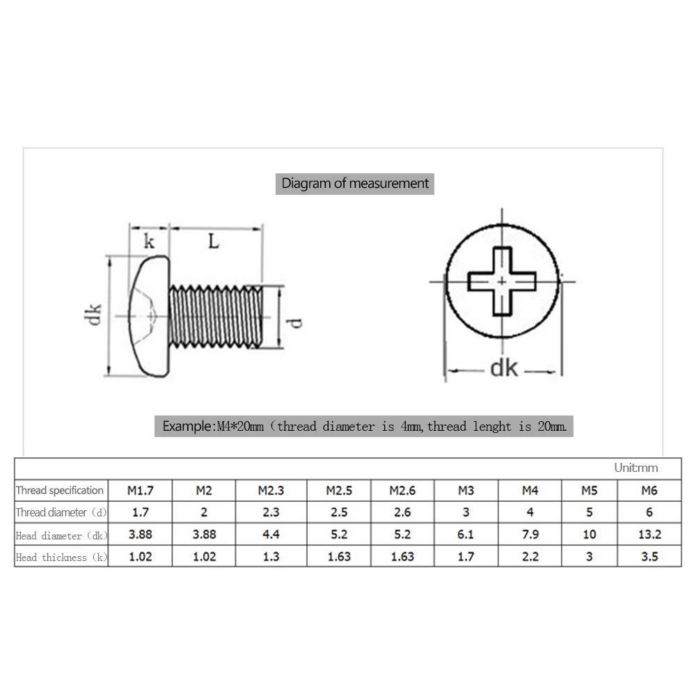 XFentech Kreuzschlitzschrauben M1.7 M2 M2.5 M2.6 Schrauben Phillips Gro/ße Runden Schrauben mit Rundem Kopf Kleine Schrauben M2x5 100 St/ück