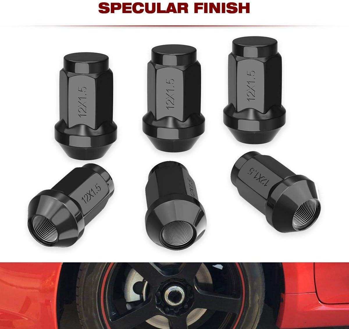 SHENGYAWAUTO 24 PCS Black 7 Spline 14x1.5 Truck Lock Lug Nuts for Chevy Gmc 6x5.5 Toyota Cadillac