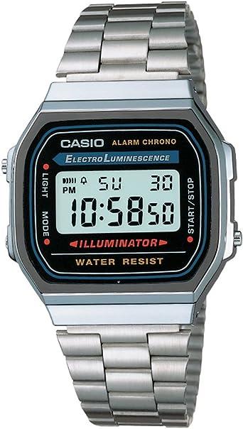 Casio Reloj con Correa de Acero Inoxidable A168WA-1A: Amazon.es ...