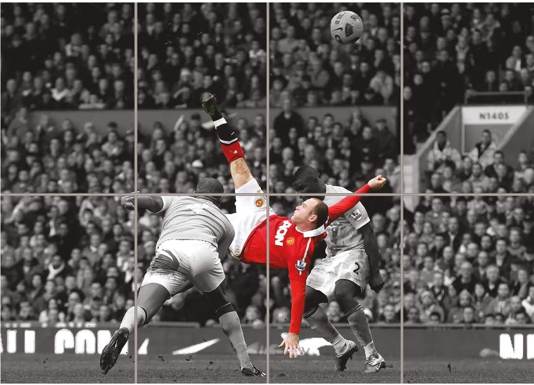 Amazon Com Doppelganger33 Ltd Wayne Rooney Over Head Kick Manchester United Wall Art Multi Panel Poster Print 47x33 Inches Posters Prints