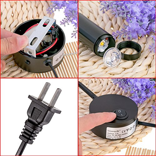 WannaBi Flexible Plug Wired 3 Watts 3W Gooseneck Led Wall Light Sconce Lamp Lighting for Bedroom Reading Bathroom by WannaBi (Image #7)
