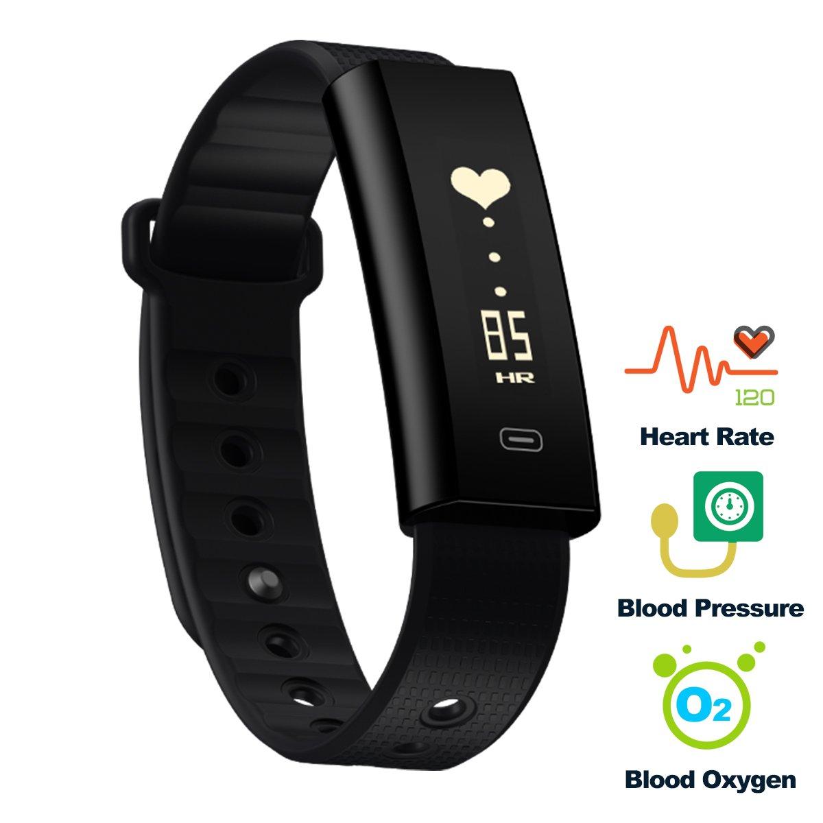 Pulsera de Actividad, Hizek Smartband Bluetooth 4.0 IP67 Rastreador de monitorización de frecuencia cardíaca resistente al agua Pulsera inteligente ...