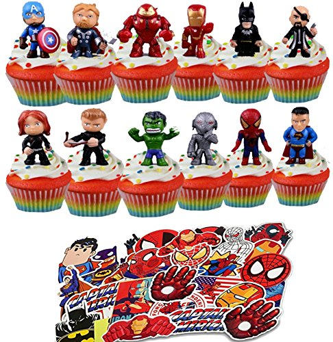 24 Superhero Avenger Figure Cupcake Toppers And Super Hero Decal Stickers