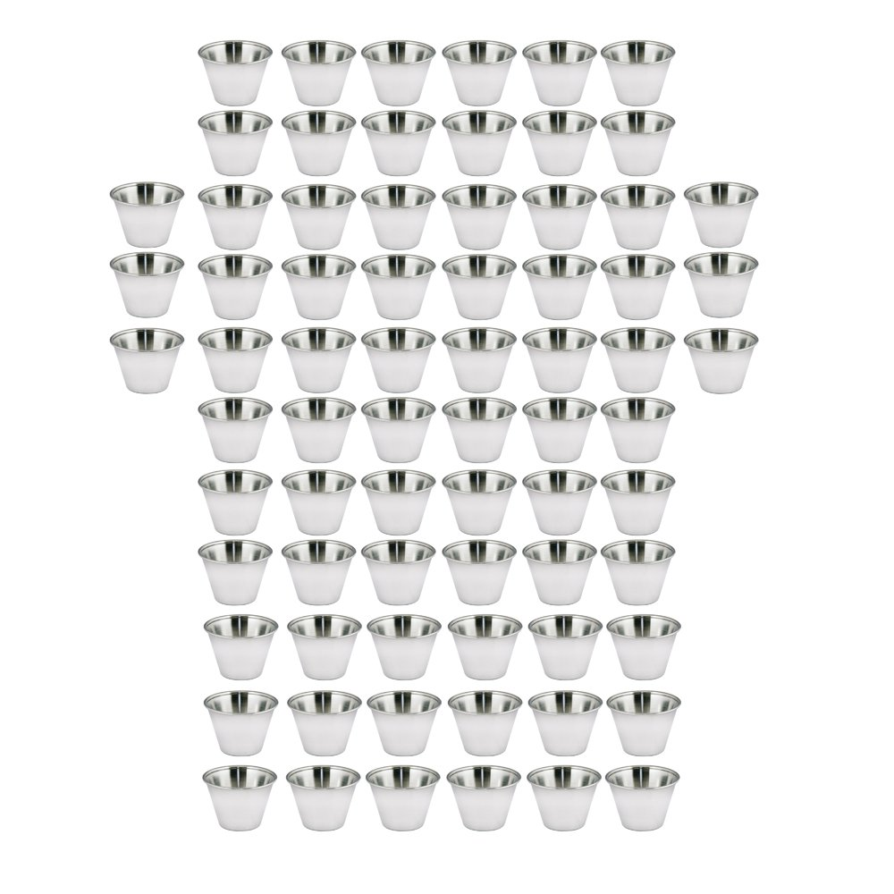 Kosma set of 72 Stainless Steel Condiment Cups | Pots Dish | Sauce Cup | Sauce Salad Dressing Cups - 2.5 oz/70 ml