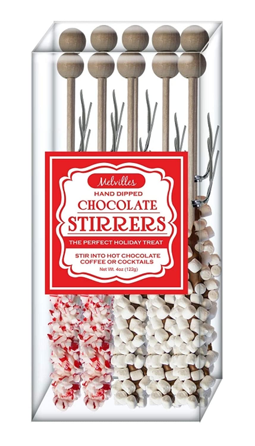 Melville Candy Hot Chocolate Stirrers (Peppermint 5, Marshmallow 5)