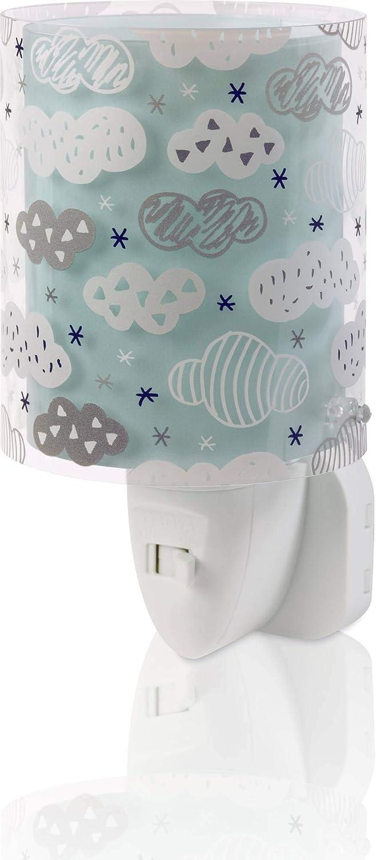 Dalber Lámpara Infantil Luz Noche Quitamiedos Enchufe LED Nubes Clouds Verde Mint