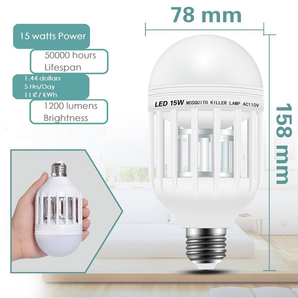 2 Pack Bug Zapper Light Bulbs, 2-In-1 Electronic Mosquito Killer Lamp, Indoor Fly Killer with Built in Insect Trap, 110V E27 Insect Killer Night Light for Home Bedroom Outdoor Garden Patio Backyard