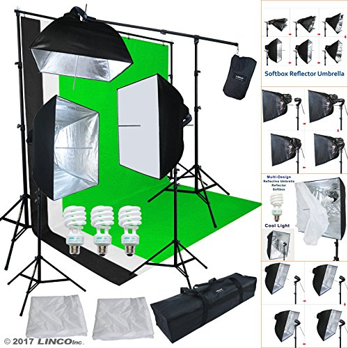 Linco Lincostore Studio Lighting 3 Point Light Backdrop Background Support with Boom Arm Stand and Counterweight AM172 by Linco