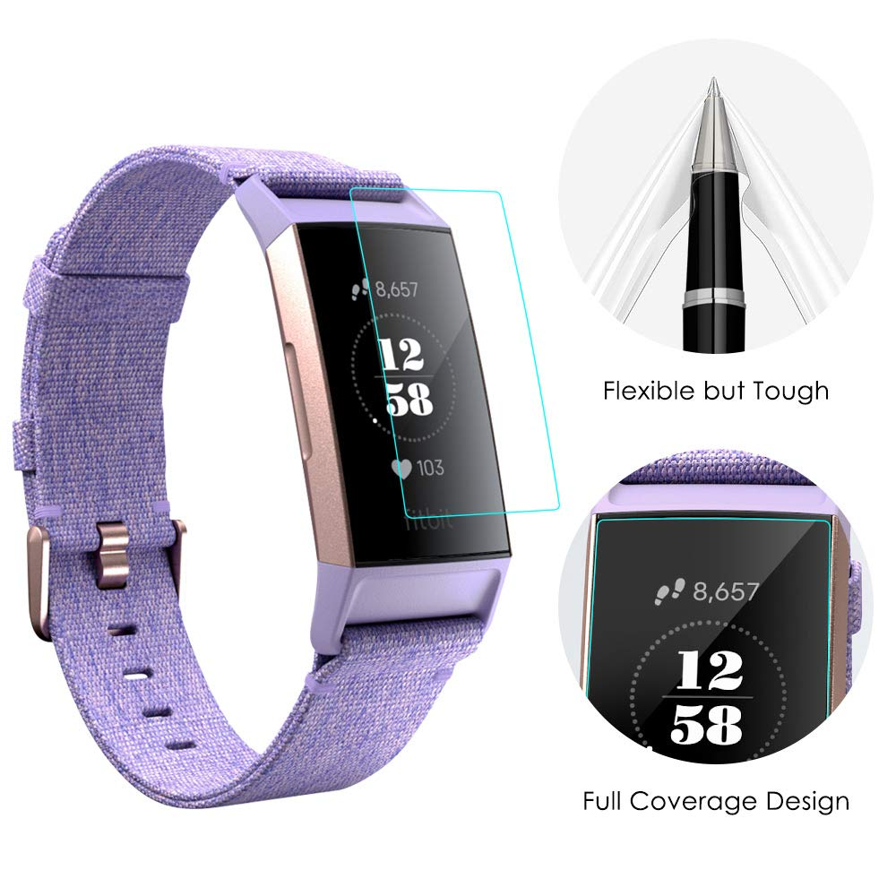 reputable site ae1ed fab01 KIMILAR Compatible Fitbit Charge 3 Screen Protector, 12 Pack Full Coverage  Flexible Protective Film Anti-Scratch Shield Crystal Clear Screen Cover for  ...