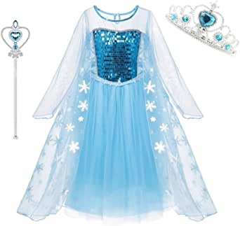 DXYtech Snow Queen Elsa Costumes Frozen Princess Sequins Dress Up Party Outfit for Toddler Girls