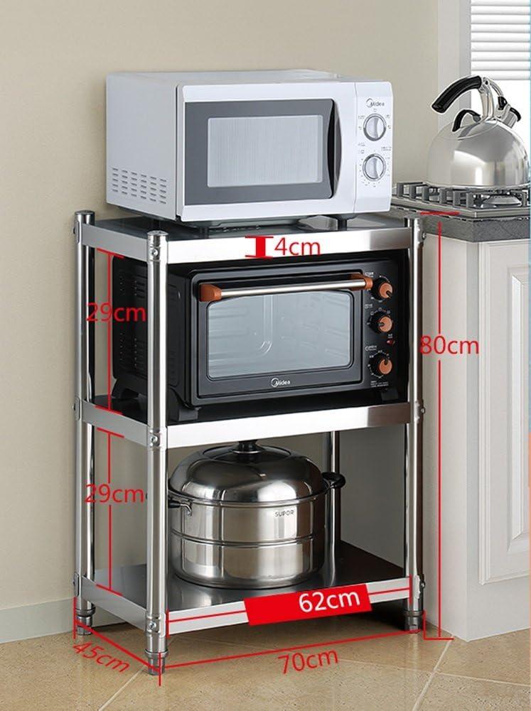 ZAQI Metal Bakers Coffee Rack Microwave Stand Adjustable Convection Oven Shelf 3 Tier Kitchen Hotel Restaurant Corner (Size : Width 45CM)