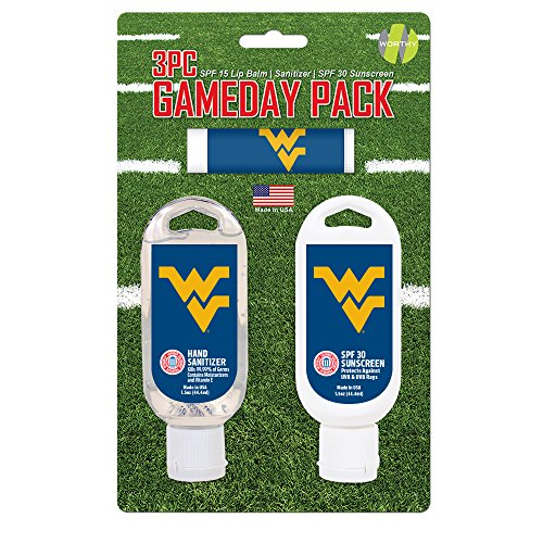 - Worthy Promo NCAA West Virginia Mountaineers Game Day Pack Includes 1 Lip Balm, 1 Hand Sanitizer and 1 SPF Sunscreen (3-Piece), 8 x 5 x 1.5-Inch, White