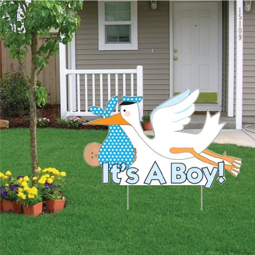 """VictoryStore Yard Sign Outdoor Lawn Decorations - It's a Boy"""" Die Cut Stork, Baby Announcement Yard Sign (Medium Skin Toned Baby) -"""