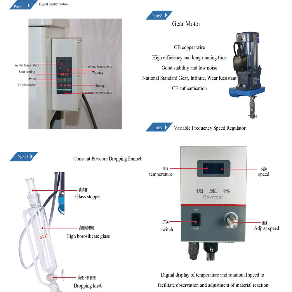 Hanchen 0.5L Lab Reactor Self-Heat High Borosilicate Glass Reaction Vessel Applicable in Water and Oil with Digital Setting Stir/Heating Power:40W/1.5KW Speed:40-900rpm -100°C~400°C CE Authentication