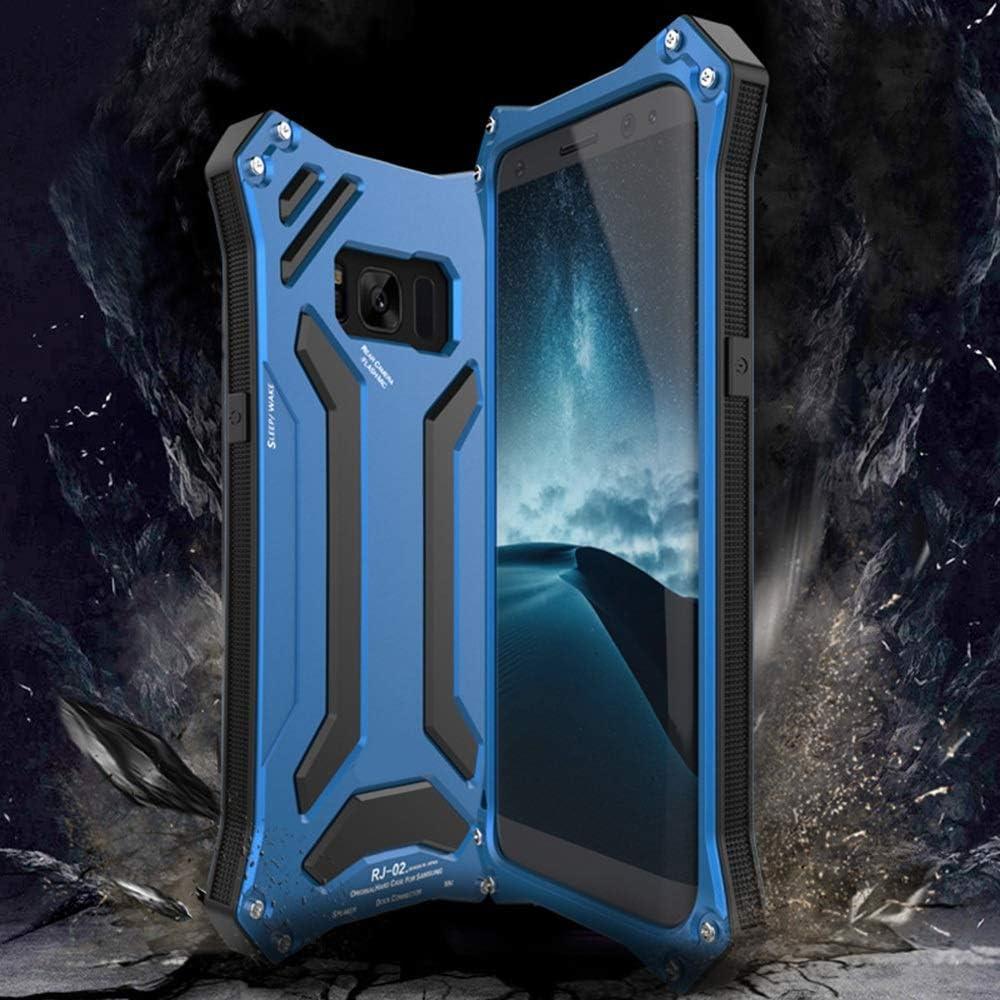 Abiliyy サムスンS8、S8プラス、S9、S9プラス、注8の高級デザインの落下防止携帯電話ケース金属ハードシェル携帯電話フレームシェル電話ケース (Color : 青, Edition : S8 Plus)