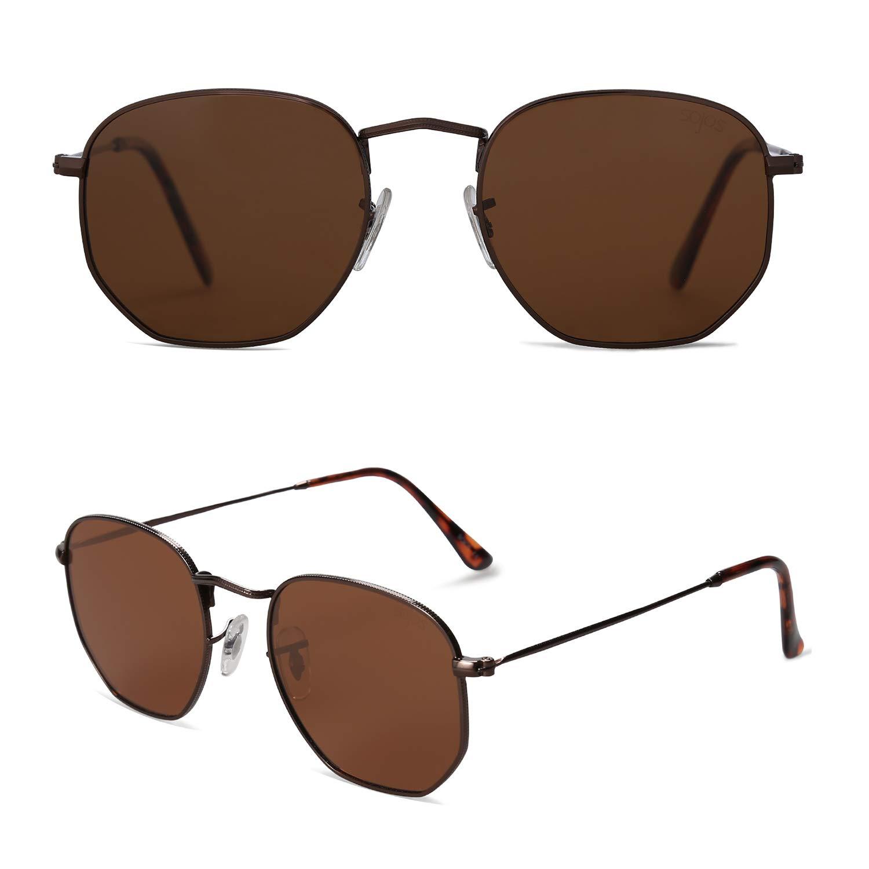 0185b81754 SOJOS Small Square Polarized Sunglasses for Men and Women Polygon Mirrored  Lens SJ1072 SJ1077