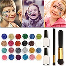 Skymore Glitter Tattoo Kit,Temporary Tattoos Face painting Make Up Body Glitter Body Art Design For Kids Teenager Adult,Halloween,With 24 Colour Glitter,108 Sheet Uniquely Themed Tattoo Stencil