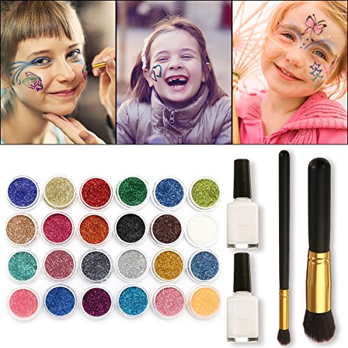 SKYMORE Glitter Tattoo Kit, Face paint, Temporary Tattoos, Make Up Body Glitter, With 24 Glitter Color,108 Uniquely Themed Tattoo Stencils, Body Art Design For Kids Teenager Adult,Halloween