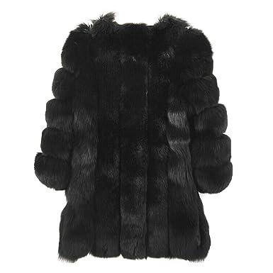 a227736b9252 PanDaDa Womens Winter Faux Fox Fur Plus Size Thick Long Jacket Warm ...