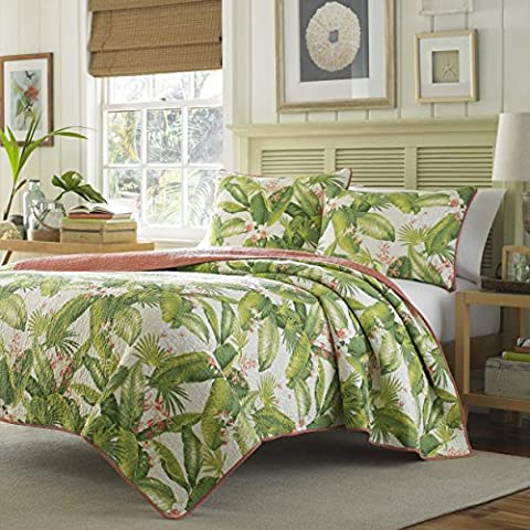 3 Piece Beautiful Green White Orange King Quilt Set, Tropical Palm Tree Floral Reversible Themed Bedding Leaves Leafy Hawaiian Vintage Flowers Cottage Cabin Summer Fun Flower Beach, - Cottage Flower Bedding