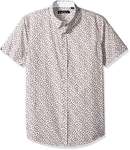 Ben Sherman Men's SS Pineapple Print Shirt, Red, XXL