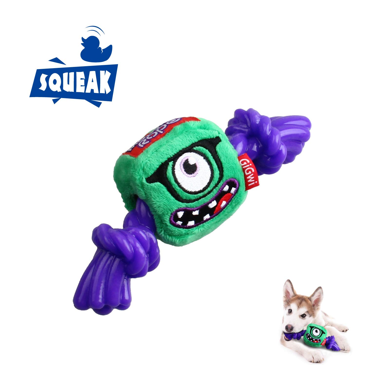 Monster Gigwi Halloween Monster Chew Toys Inside TPR Rope, Interactive Squeaking Dog Toys Plush Length 7 Inches, Green Purple color