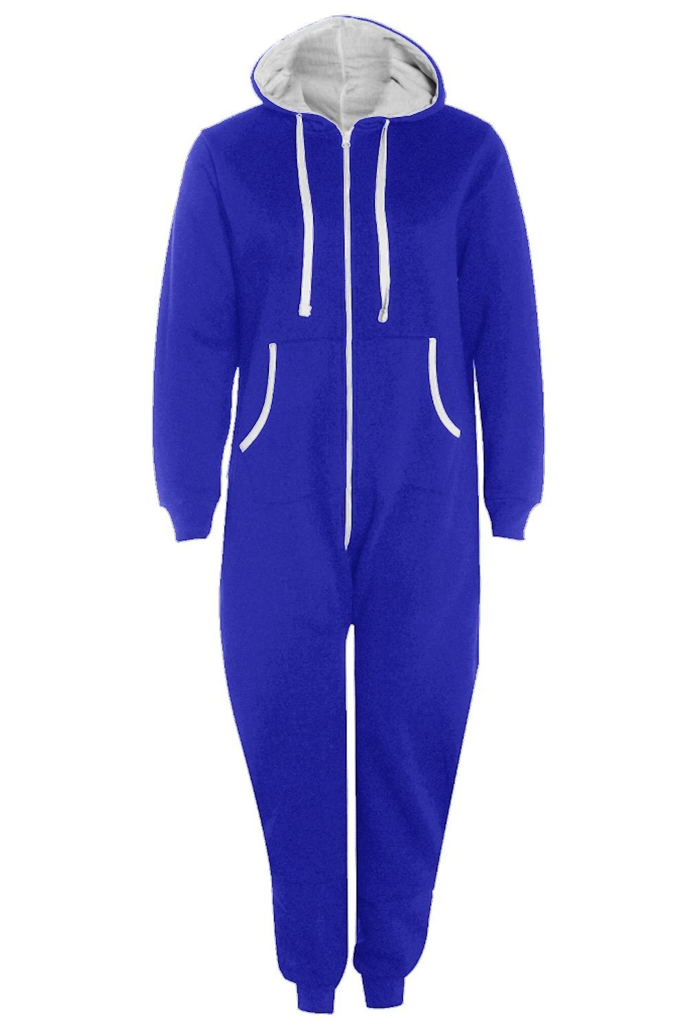 Womens Ladies All In One Hooded Kangaroo Pocket Zip Up Playsuit Jumpsuit Onesie