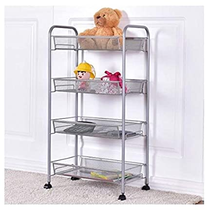 BeUniqueToday 4 Tier Trolley Cart Island Steel Mesh Storage Rack Shelving Kitchen Rolling Shelf