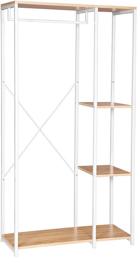 WOLTU Perchero de Pie con Estante Zapatero Perchero Burro para Colgador Ropa Metal y Madera, 90 x 40 x 167 cm SR0047whe