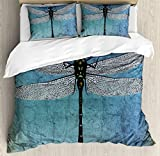 Ambesonne Dragonfly Duvet Cover Set King Size, Grunge Vintage Old Backdrop and Dragonfly Bug Ombre Image, Decorative 3 Piece Bedding Set with 2 Pillow Shams, Dark Blue Turquoise and Black