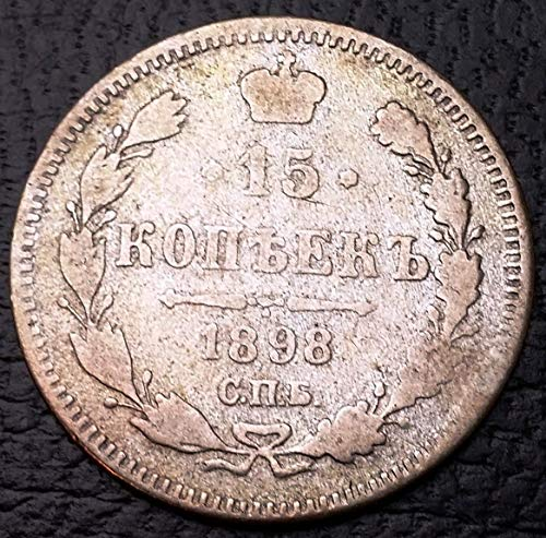 1898 RUSSIA EMPIRE 15 KOPEKS KOHPEKS SILVER COIN