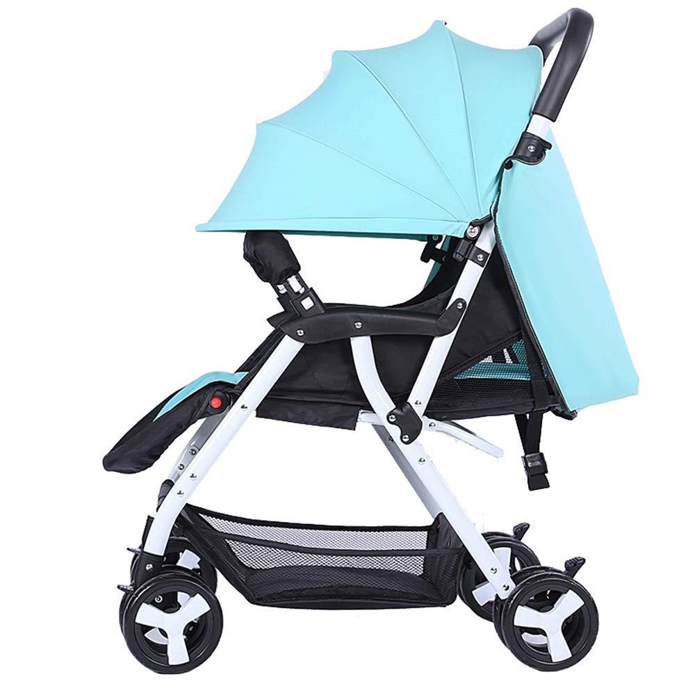 軽いポータブルはリクライニングベビー傘の車を座ることができます簡単な折り畳み新生児のベビーカー (色 : 青)  青 B07G5XX1QP