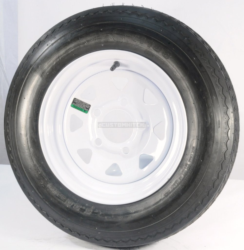 Set of 2 12'' Trailer Tires Rims 530-12 5.30-12 5.30 x 12 LRC 5 Lug/4.5'' Hole Bolt White Spoke Wheel