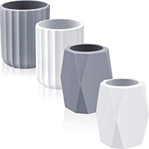 4 Pieces Silicone Pencil Holder Silicone Pen Cups Geometric and Round Pencil Holder Makeup Brush Holder Desktop Stationery Organizer for Office Home School White and Grey