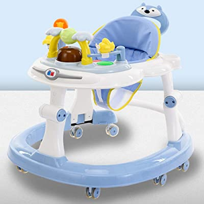 Olz Baby Activity Walker with Brake Folding, Anti-O-Leg Baby Walker,Anti-Rollover Walker, Height-Adjustable Baby Walker,Maximum Load 20 Kg,for Girls Boys 6-18Months Toddler,Sky Blue b: Sports & Outdoors