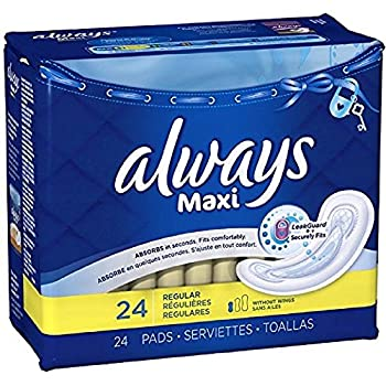 Always Maxi Size 1 Pads Without Wings, Regular Absorbency, Unscented, 24 Count (Packaging May Vary)