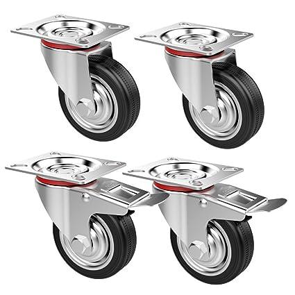 Popamazing - Ruedas giratorias de goma, 4 unidades, resistentes, 200 kg, 75