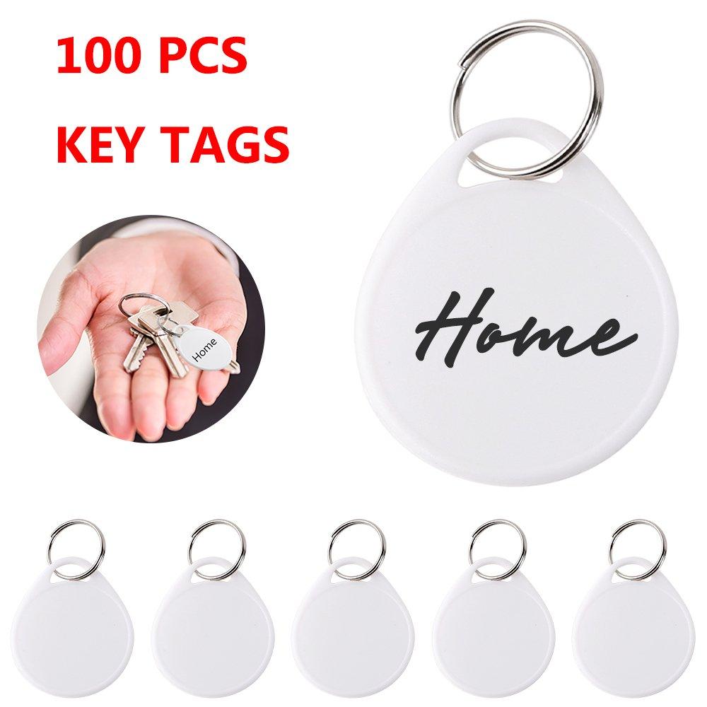 100PCS Round Key Tags with Split Ring, 200PCS White Labels
