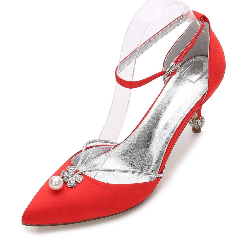 Zxstz damen Heels Hochzeit Braut Prom Slip auf naher Zehe Klassische Schuhe Pumpe Abend Party Schuhe