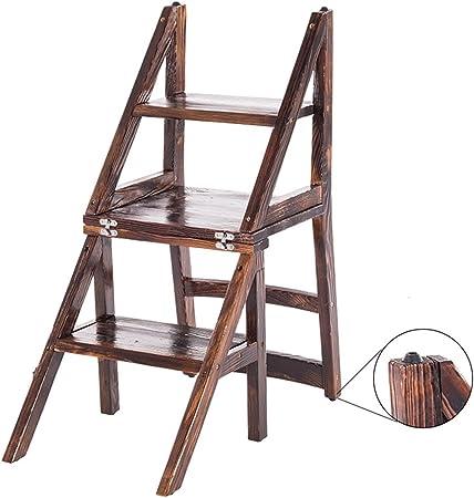 LAXF- Sillas Escalera Plegable Madera Silla de Comedor de Madera Maciza Doble Uso Escalera Plegable Taburete: Amazon.es: Hogar