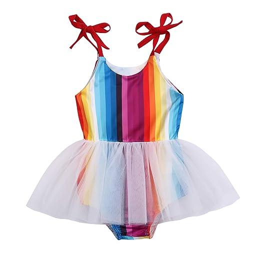 1b8c339466354 Newborn Infant Baby Girls Summer Romper Rainbow Jumpsuit Tutu Dress Lace  Skirt Outfits