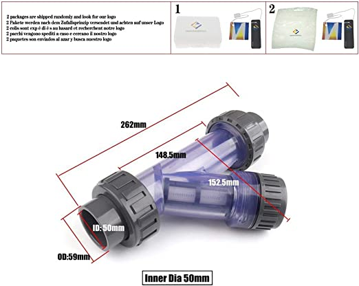 huicouldtool - Filtro Transparente U-PVC para Acuario, fertilización, Acuario, riego, purificación de Agua, colador de PVC, Tubo Tipo Y filtros, Diamètre intérieur 50mm: Amazon.es: Jardín