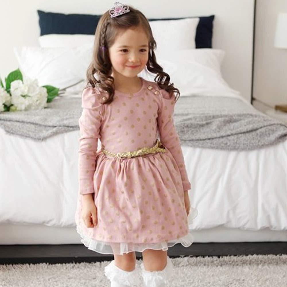 qiaoW Party Girl Polka Dot Dress,Belt Childrens Long-Sleeved Princess Dress