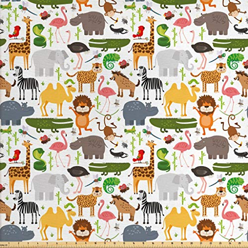 Lunarable Safari Fabric The Yard, Children Cartoon Style Animal Pattern Safari Themed Lions Tigers Flamingos Funny, Decorative Fabric Upholstery Home Accents, 1 Yard, ()