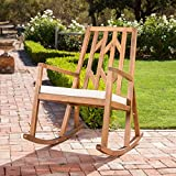 Monterey Outdoor Wood Rocking Chair with White Cushion For Sale