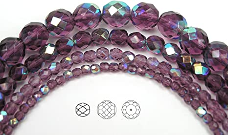 Amethyst purple crystals Czech Glass Machine Cut Faceted Round Crystal Beads