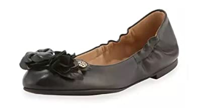 Tory Burch Blossom Leather Ballet Flat Shoes, Black (8)