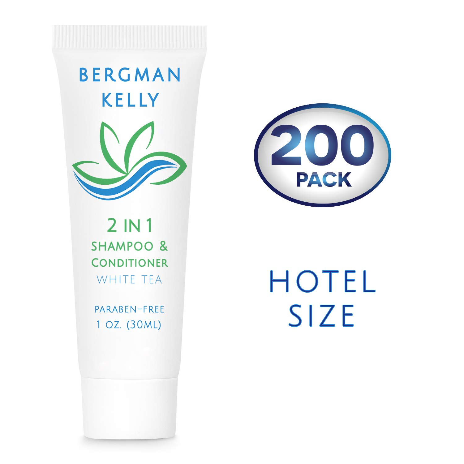 BERGMAN KELLY Travel Size Shampoo & Conditioner 2 in 1 (1 Fl Oz, 200 PK, White Tea), Delight Your Guests with Revitalizing and Refreshing Shampoo Amenities, Quality Small Size Hotel Toiletries in Bulk by BERGMAN KELLY